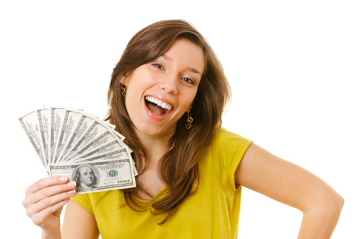 Happy young woman having money